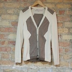 Lela Rose Cream and Brown Cardigan